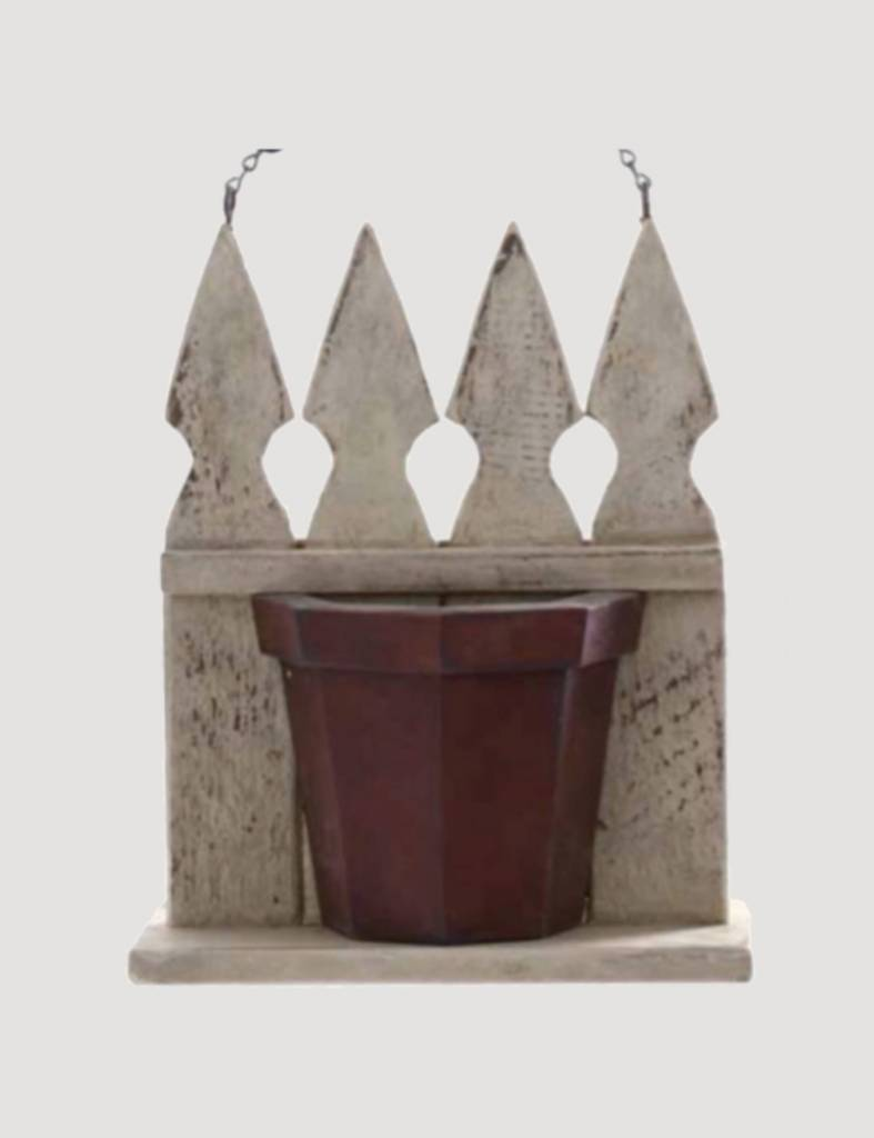 K & K Interiors White Wood Picket Fence with Flower Pot Arrow Replacement