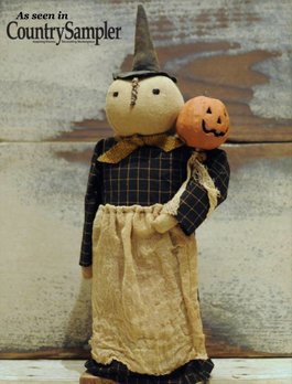 Nana's Farmhouse Primitive Witch with Pumpkin Wand