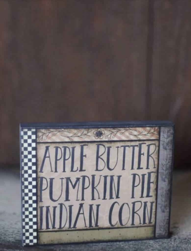 Apple Butter, Pumpkin Pie, Indian Corn Block Sign