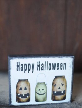 Nanas Farmhouse Happy Halloween Jars Block Sign
