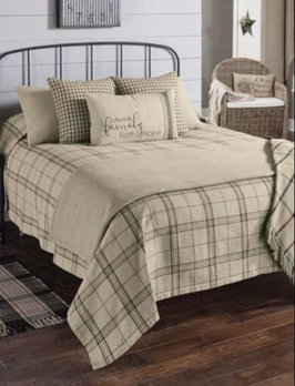 Park Designs Fieldstone Plaid Queen Black Bedspread