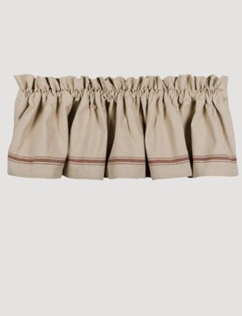 Home Collections By Raghu Grain Sack Stripe Lined Valance - Barn Red