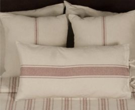 Home Collections By Raghu Grain Sack Stripe Pillow Cover Oat & Barn Red