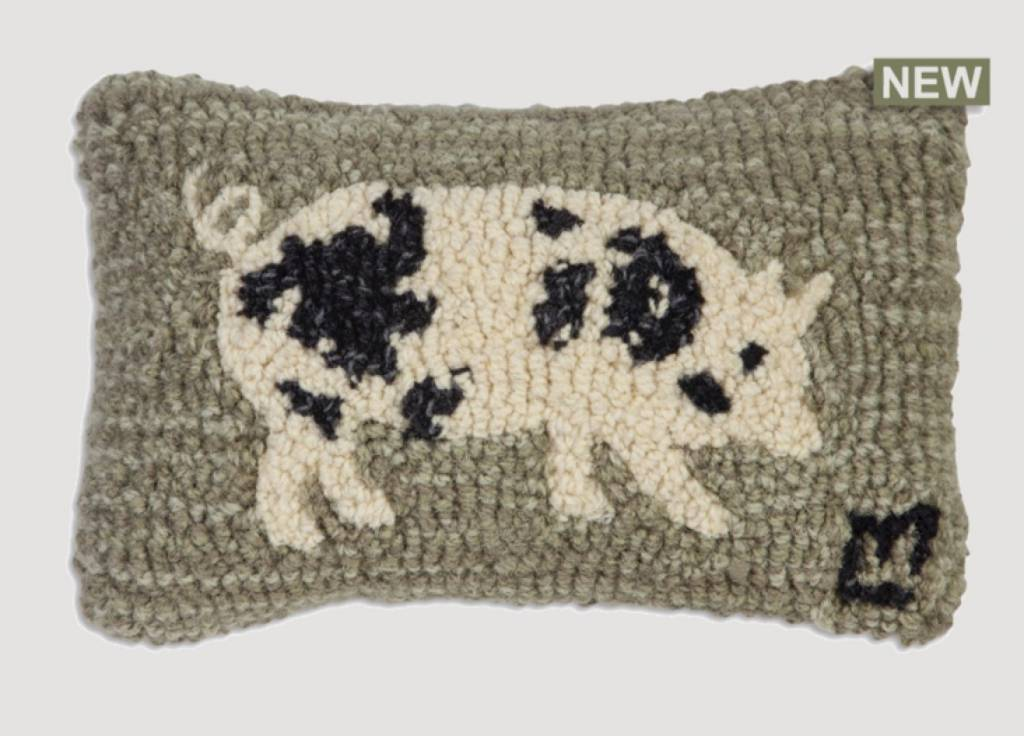 Chandler 4 Corners Spotted Pig Hand Hooked Pillow