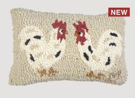 Chandler 4 Corners Two Little Hens Hand Hooked Pillow