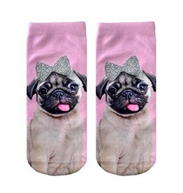 Living Royal Pug With Glitter Bow - Ankle Sock