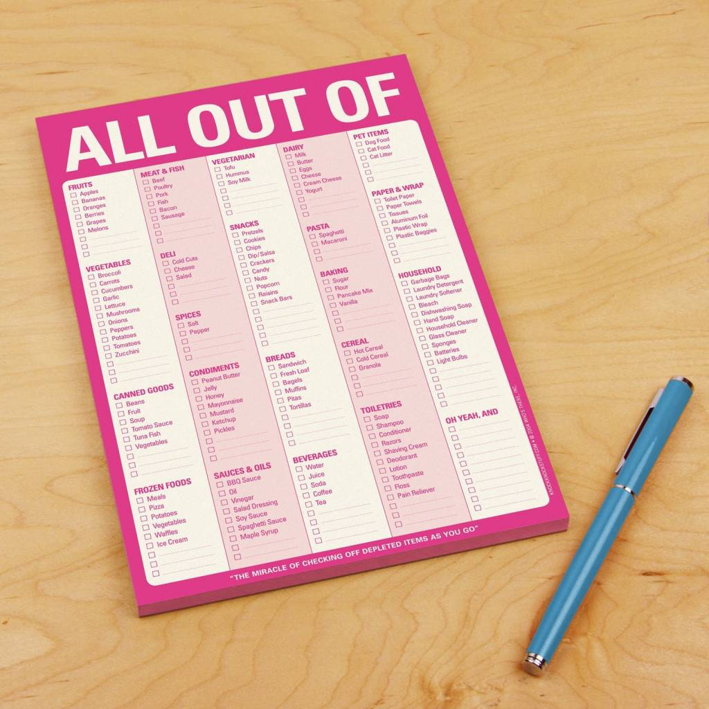 "Knock Knock Pink ""All Out Of"" Pad With Magnet"
