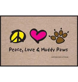 High Cotton* Peace Love and  Muddy Paws - Doormat