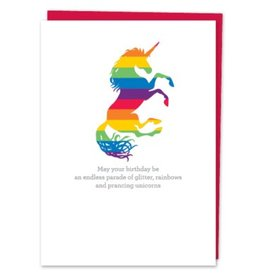 Design With Heart Rainbows and Prancing Unicorns  - Card Birthday