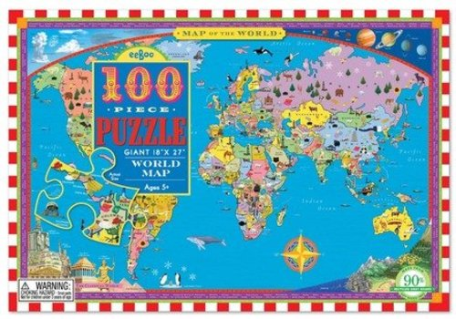 Eeboo World Map 100 pc Puzzle Eeboo