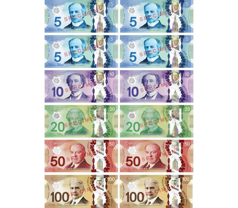 Canadian Dollars Magnetic Currency Set