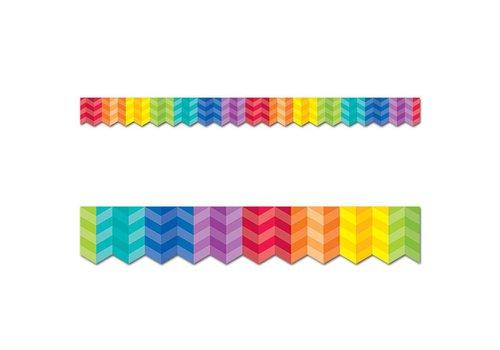 Creative Teaching Press Painted Palette Rainbow Herringbone Border