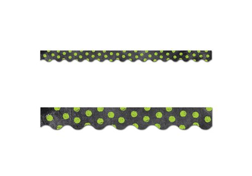 Creative Teaching Press Chalk It Up! Dots on Chalkboard! Lime Green Border