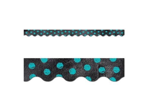 Creative Teaching Press Chalk It Up! Dots on Chalkboard! Turquoise Border