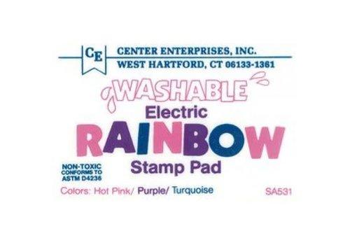 CENTER ENTERPRISES Washable-Electric-Pink/Purple/Turquoise Stamp Pad