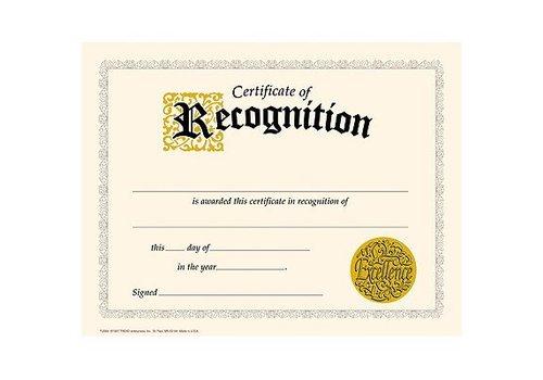 Trend Enterprises Certificate of Recognition