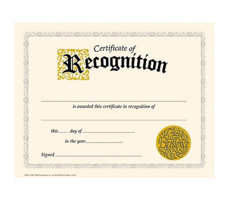 Certificate of Recognition *