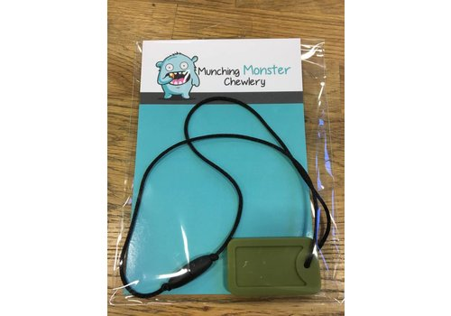 Munching Monster Dog Tag Chewlery- single army green
