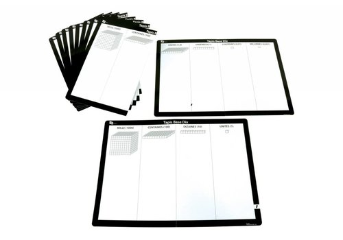 SI Manufacturing Base Ten Write n' Wipe Mat French, Set of 10