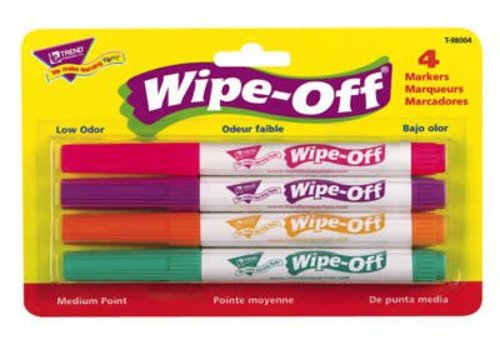 Trend Enterprises Wipe Off Markers 4-Pack Bright Colors