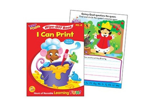 Trend Enterprises I Can Print Standard Manuscript Wipe-Off Book