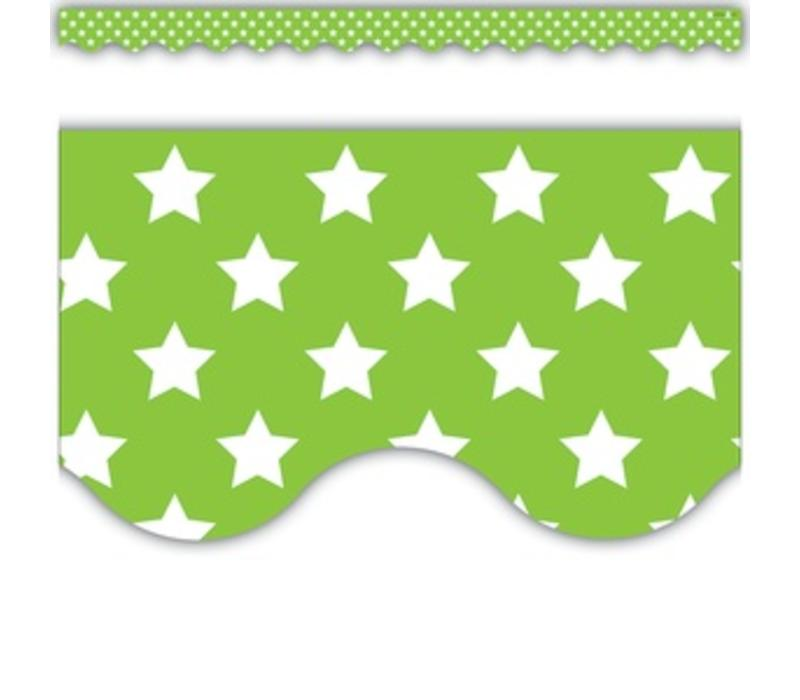 Lime with White Stars Border*