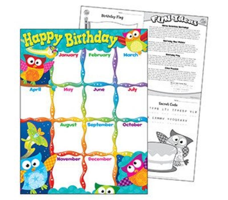 Happy Birthday Owl Stars Charts