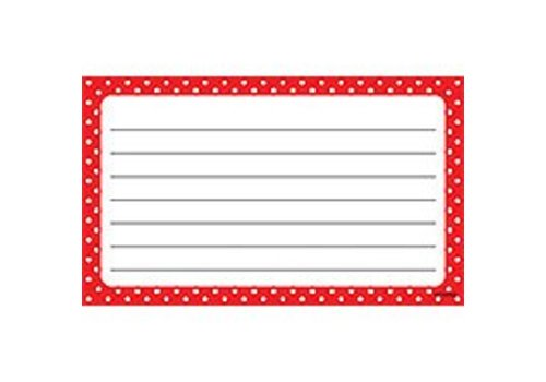 Trend Enterprises Polka Dots Red Index Cards - Lined
