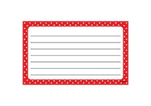 Trend Enterprises Polka Dots Red Index Cards - Lined (D)