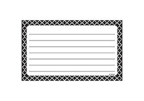 Trend Enterprises Moroccan Black Index Cards - Lined