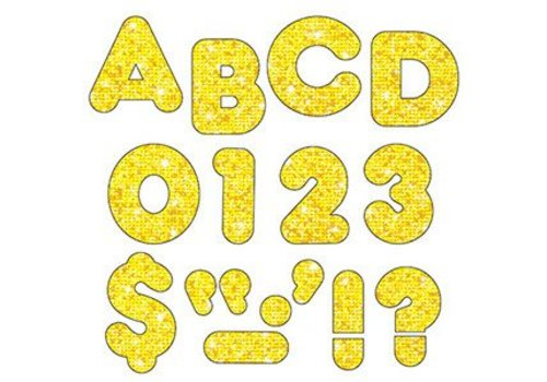 "Trend Enterprises Yellow Sparkle 4"" Casual UC Letters"