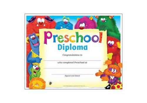 Trend Enterprises Preschool Diploma Furry Friends Certificates