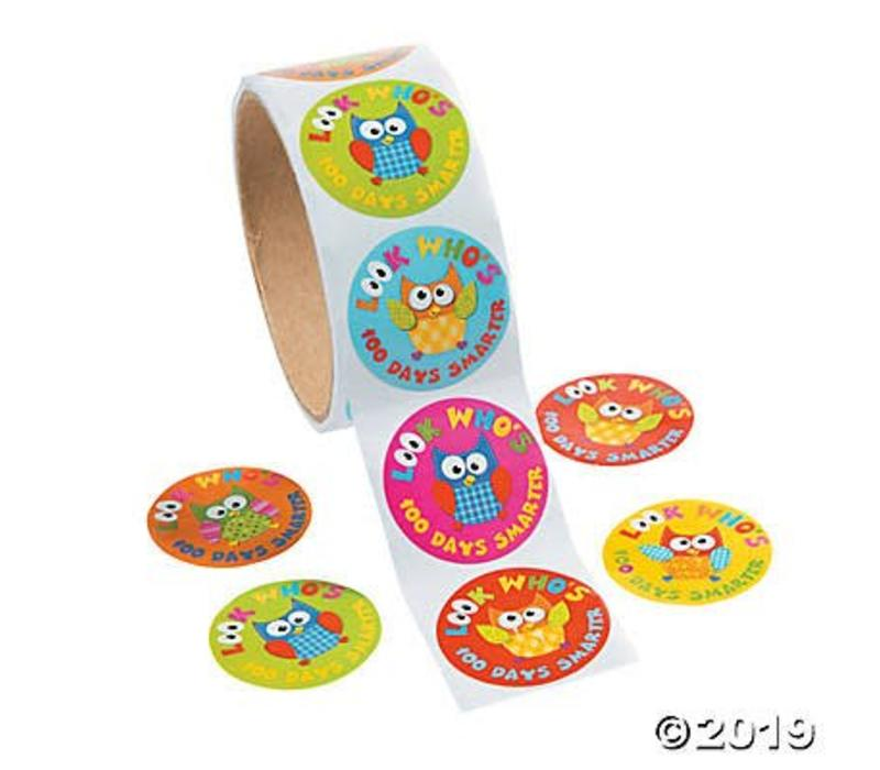 100th Day of School Roll of Stickers, 100 ct