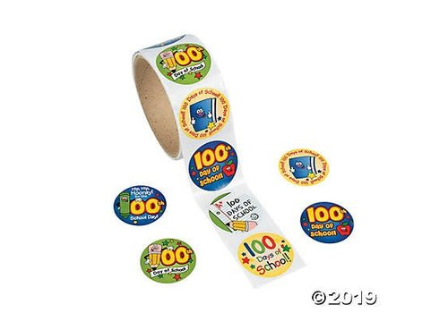 fun express 100th Day of School Roll of Stickers, 100 ct