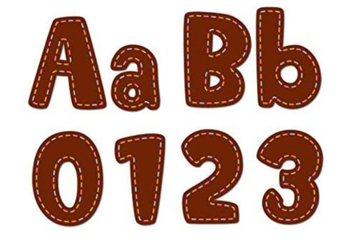 """Creative Teaching Press Stitches on Chocolate 4"""" Designer Letters"""