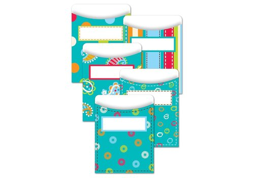 Creative Teaching Press Dots on Turquoise Library Pockets - Jumbo