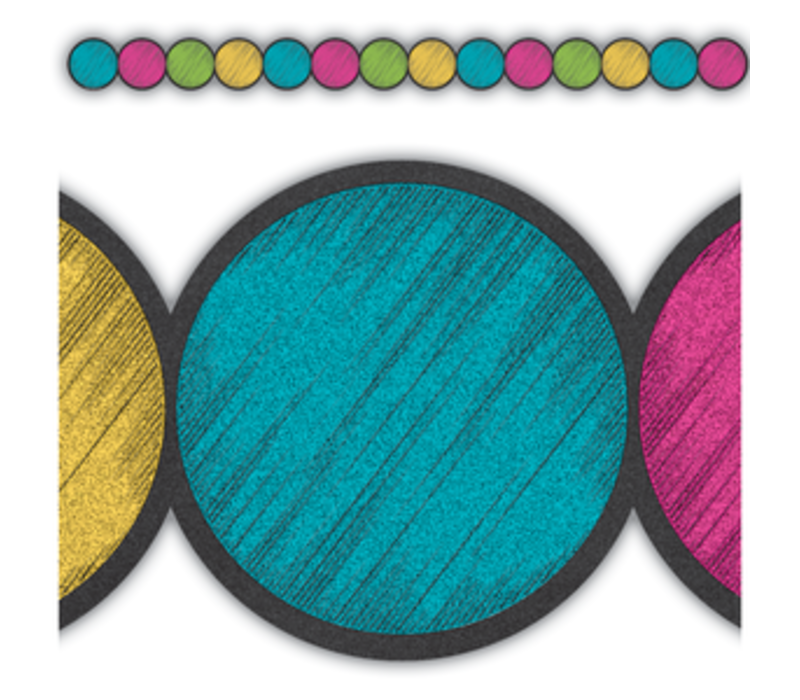 Chalkboard Brights Circles Border Trim*