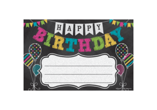 Teacher Created Resources Chalkboard Brights Birthday Awards *