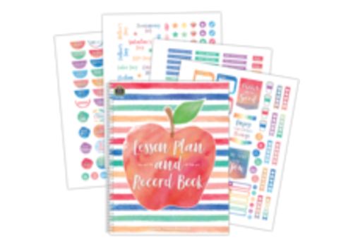Teacher Created Resources Watercolor Lesson Plan and Record Book with Stickers