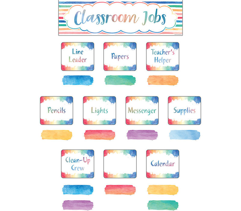 Watercolor Classroom Jobs Mini Bulletin Board Set