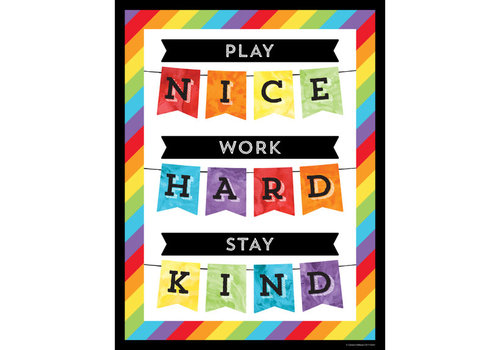 Carson Dellosa Celebrate Learning  - Play Nice, Work Hard, Stay Kind Chart