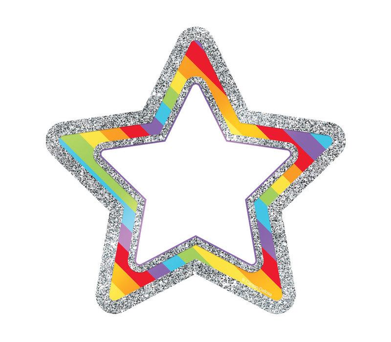 Rainbow Glitter Stars Cut-Outs *