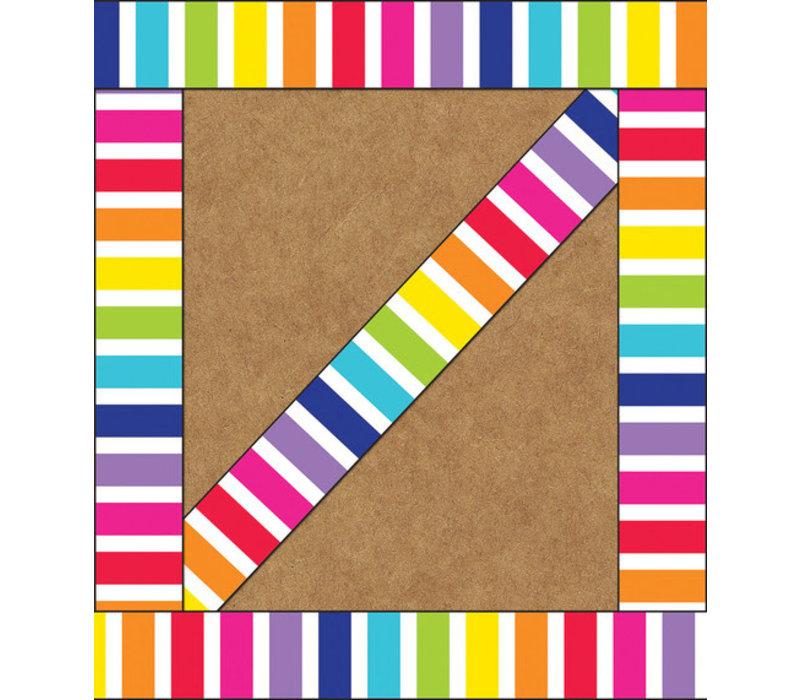 Stars Vertical Rainbow Stripes Straight Edge Border *