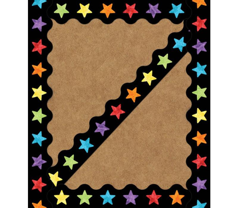 Watercolor Stars Scalloped Borders
