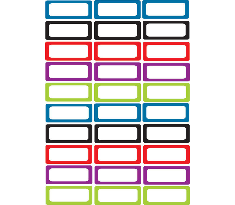 Magnetic Small Nameplates, 30 pcs, Solid Assorted Colors *
