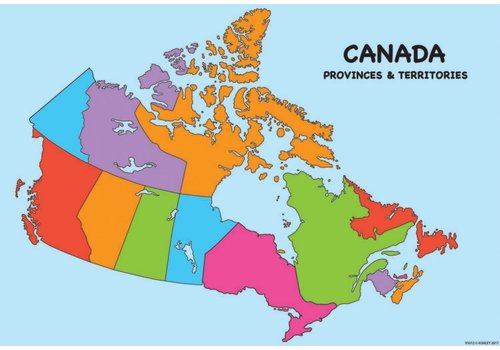 "ASHLEY PRODUCTIONS Canada Map Poly Chart 13"" x 19"""