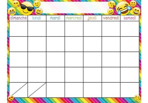 "ASHLEY PRODUCTIONS French Calendar Emoji Poly Chart 17"" x 22"""