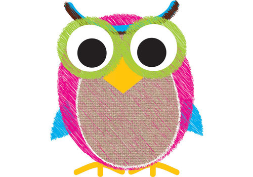 ASHLEY PRODUCTIONS Magnetic Whiteboard Eraser Owl Scribble Chalk Burlap *