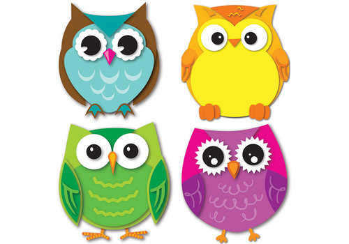 Carson Dellosa Colorful Owls Mini Cut-Outs