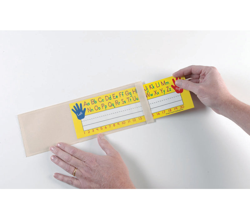 """Clear View Self-Adhesive Pockets, Xsmall name plate, 3 1/4"""" x 10 1/2"""", 25 per pack"""